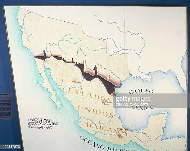 Cartography 19th century Map of Mexico with the new boundaries established by the Treaty of Guadalupe on February 2 1848