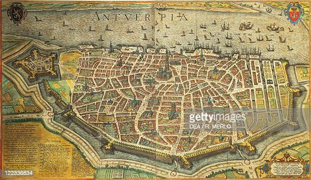 Cartography, Belgium, 16th century. Map of Antwerp from Civitates Orbis Terrarum by Georg Braun and Franz Hogenberg, Cologne. Engraving.
