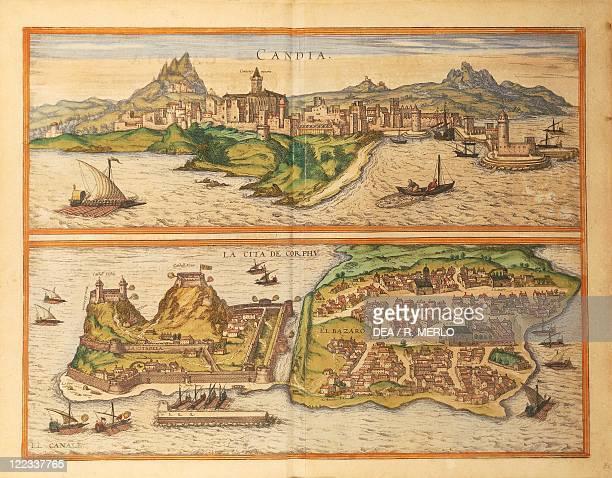 Cartography Eastern Mediterrenean Sea 16th century Heraklion and Corfu From Civitates Orbis Terrarum by Georg Braun and Franz Hogenberg Cologne...