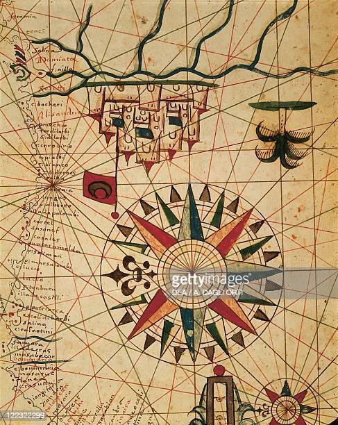 Cartography Egypt 16th century Portolan chart map of Cairo