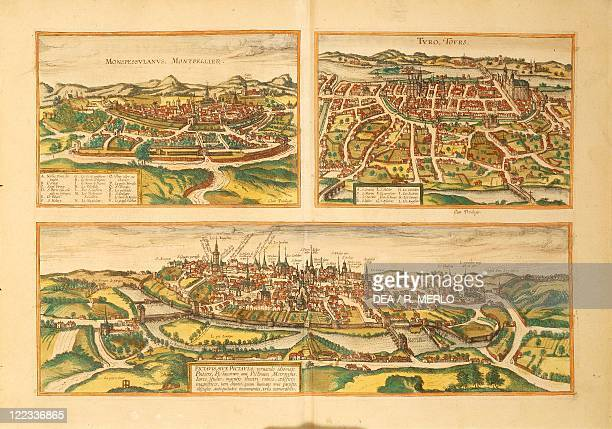 Cartography France 16th century Map of Montpellier Tours and Poitiers From Civitates Orbis Terrarum by Georg Braun and Franz Hogenberg Cologne...