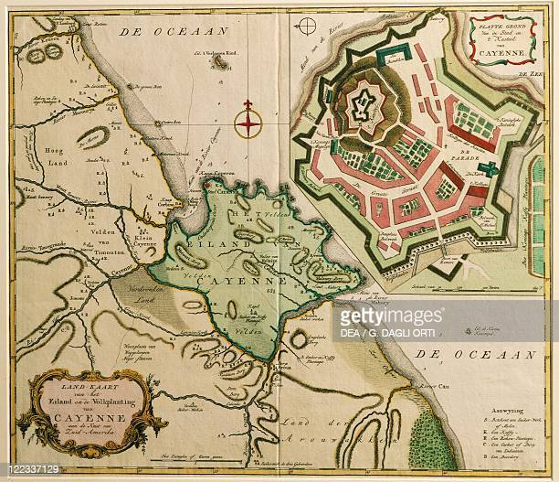 Cartography French Guyana 17th century Map of Cayenne