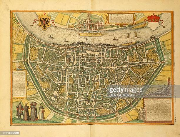 Cartography Germany 16th century Map of Cologne From Civitates Orbis Terrarum by Georg Braun and Franz Hogenberg Cologne Engraving