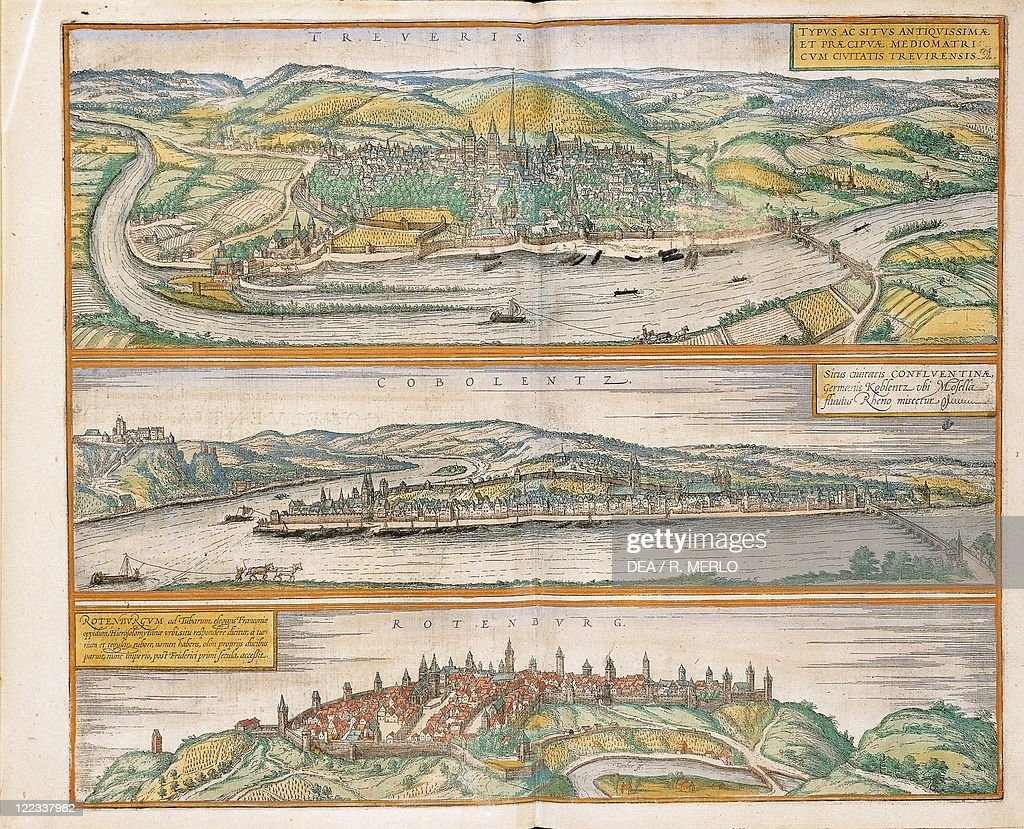 cartography germany 16th century map of trier koblenz and rothenburg ob der