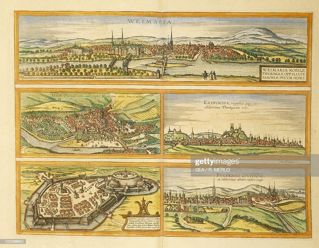 Map of Weimar Jena Erfurt Gotha and Fulda from Civitates Orbis