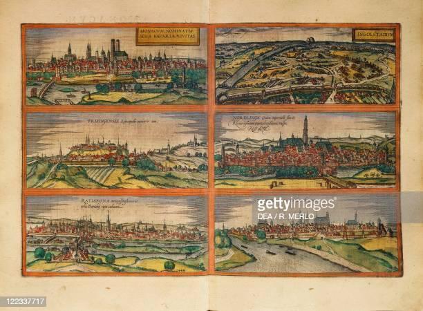Cartography, Germany, 16th century. Munich, Ingolstadt, Freising, Nordlingen, Regensburg and Straubing. From Civitates Orbis Terrarum by Georg Braun...