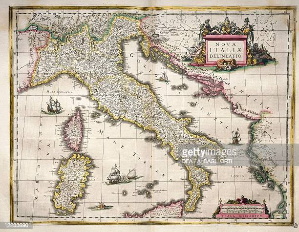 Cartography Germany 17th century Map of Italy from Theatrum Orbis Terrarum by Willem Blaeu Amsterdam 16351645
