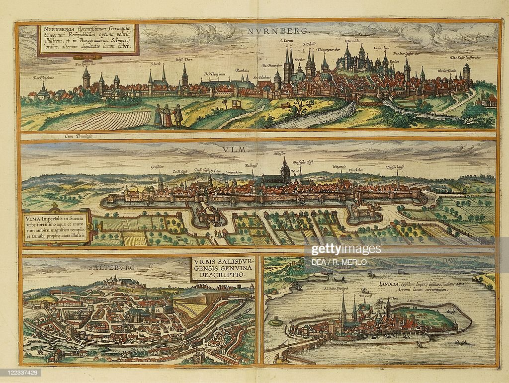 Map of Nuremberg Ulm Salzburg and Lindau from Civitates Orbis