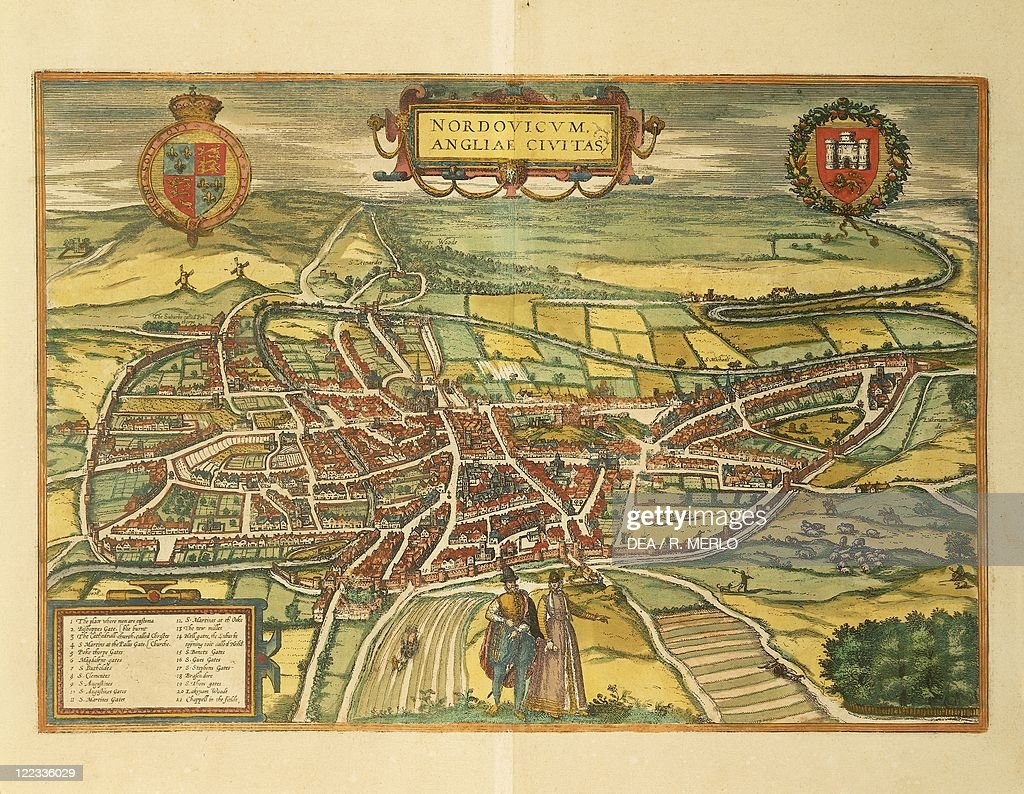 Cartography, Great Britain, 16th century. Map of Norwich ...