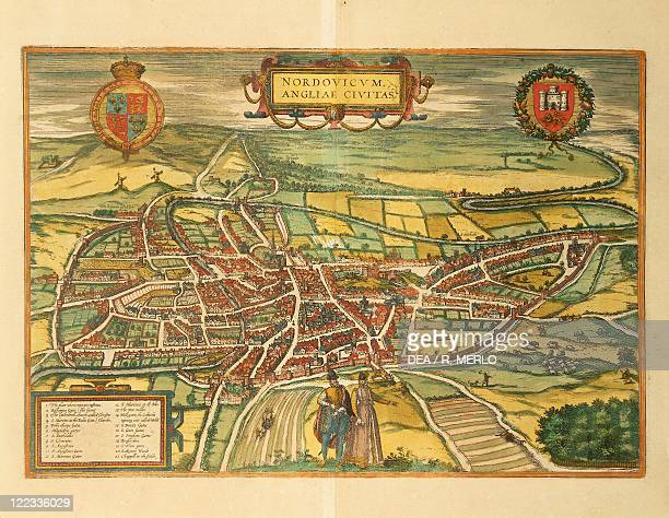 Cartography Great Britain 16th century Map of Norwich From Civitates Orbis Terrarum by Georg Braun and Franz Hogenberg Cologne Engraving