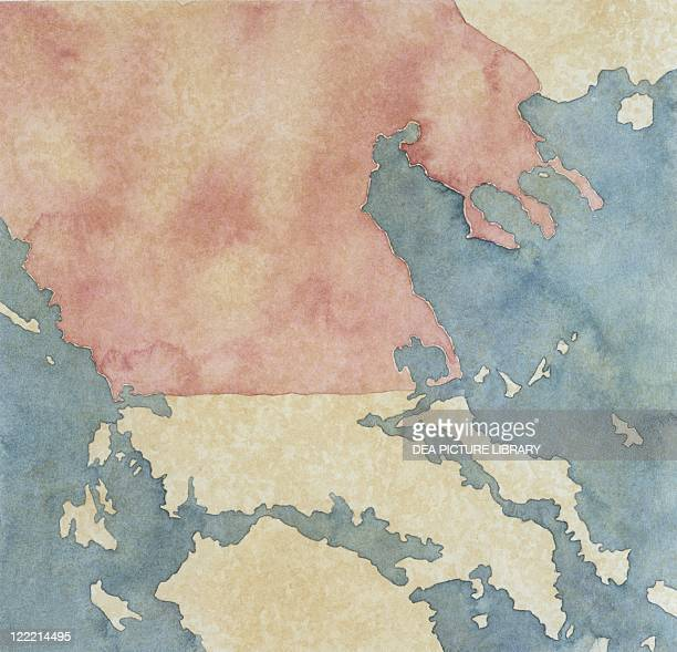 Cartography Greek civilization Map of Greek regions under Macedonian rule in the 3rd century bC Color illustration