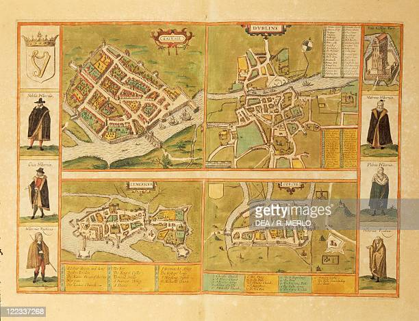 Cartography Ireland 16th century Map of Galway Dublin Limerick and Cork From Civitates Orbis Terrarum by Georg Braun and Franz Hogenberg Cologne...