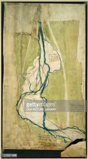 Cartography Italy 16th century Leonardo da Vinci finished map of Arno 1504