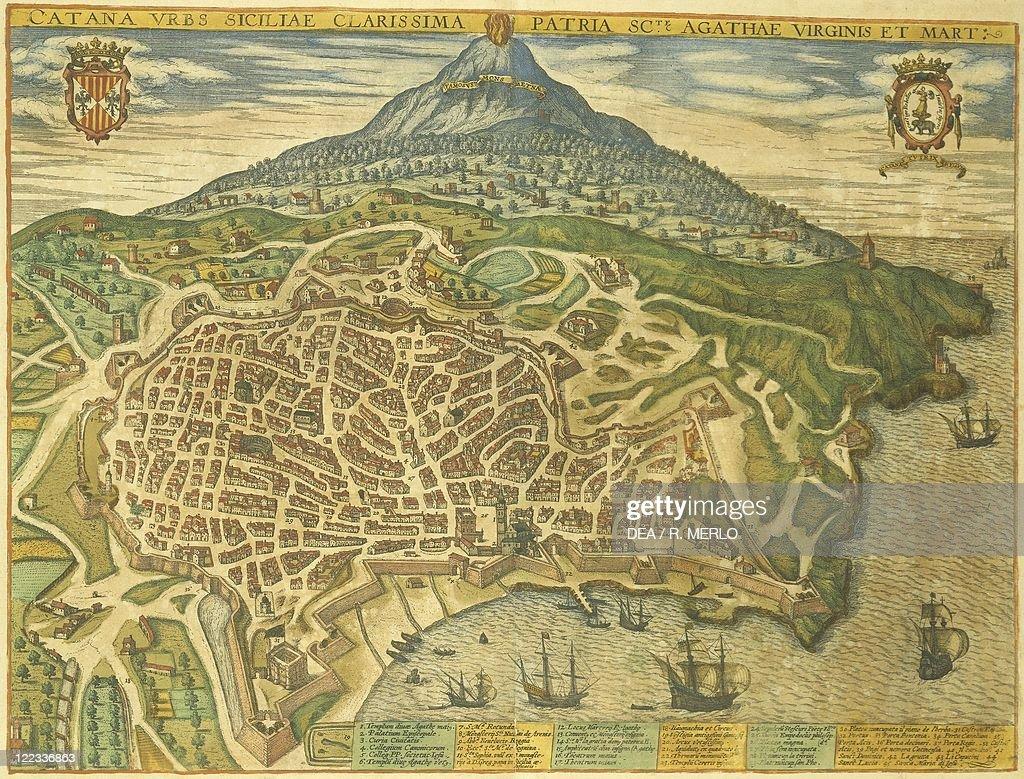 Map of Catania from Civitates Orbis Terrarum by Georg Braun 1541