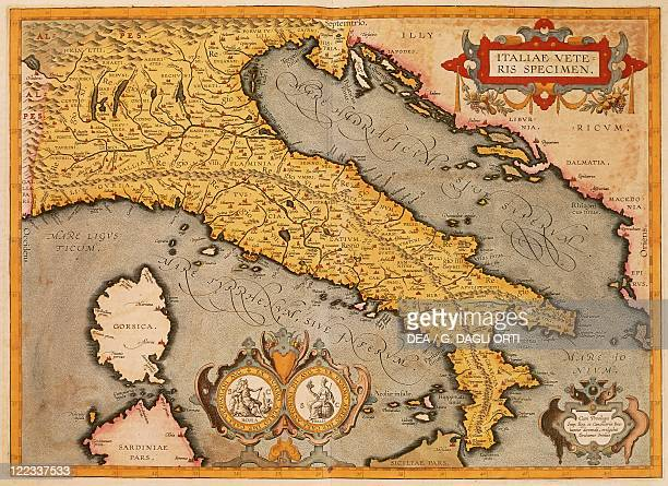Cartography Italy 16th century Map of Italy by Abraham Ortelius from Theatrum Orbis Terrarum 1570