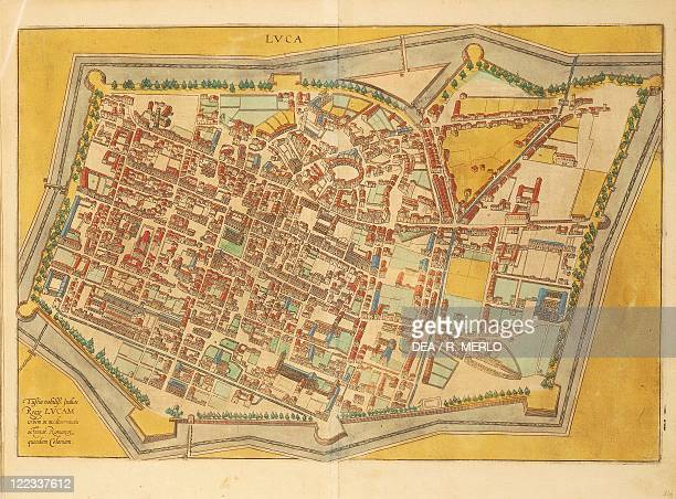 Cartography Italy 16th century Map of Lucca From Civitates Orbis Terrarum by Georg Braun and Franz Hogenberg Cologne Engraving