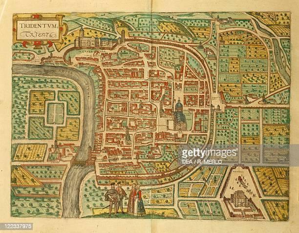 Cartography, Italy, 16th century. Map of Trento. From Civitates Orbis Terrarum by Georg Braun and Franz Hogenberg , Cologne. Engraving.