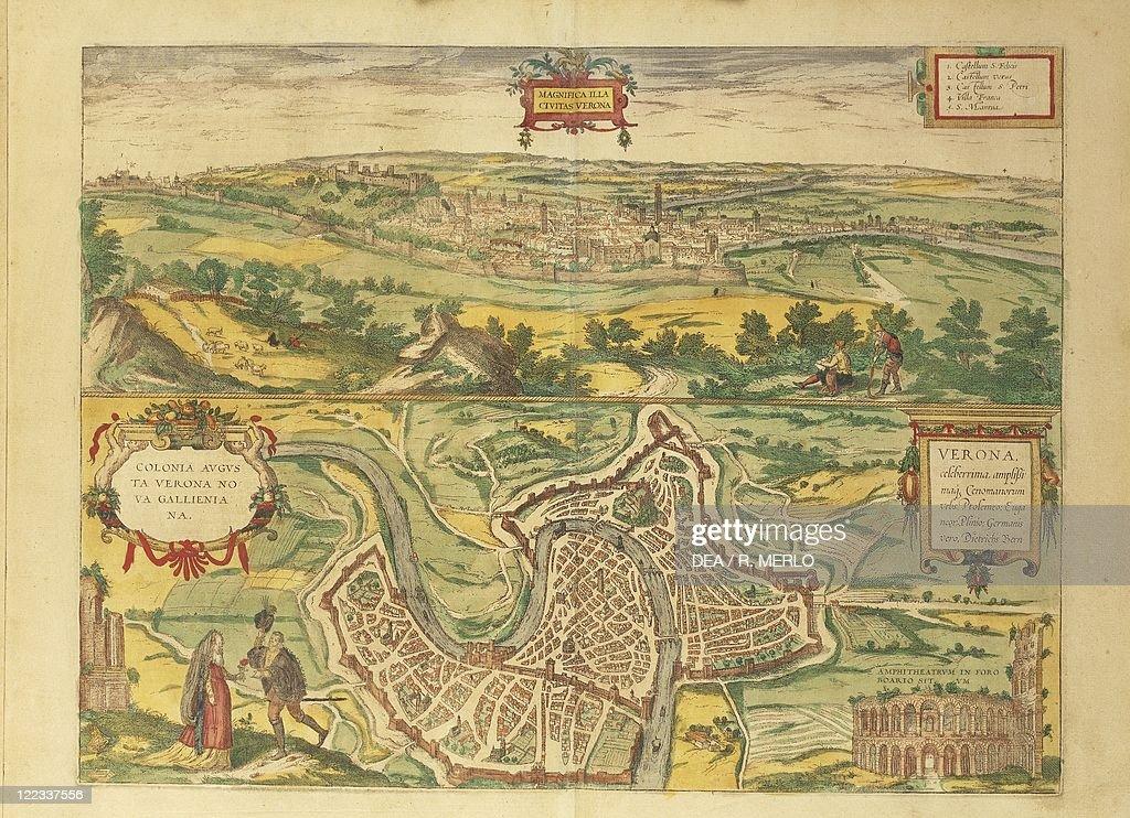 Cartography Italy 16th Century Map Of Verona From Civitates