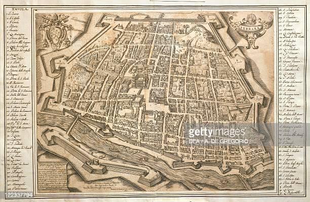 Cartography Italy 16th century Plan of Ferrara 1598