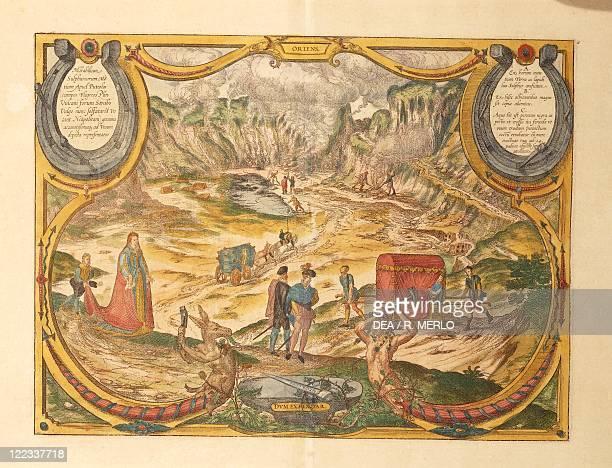 Cartography Italy 16th century Solfatara at Campi Flegrei in Pozzuoli Naples province From Civitates Orbis Terrarum by Georg Braun and Franz...