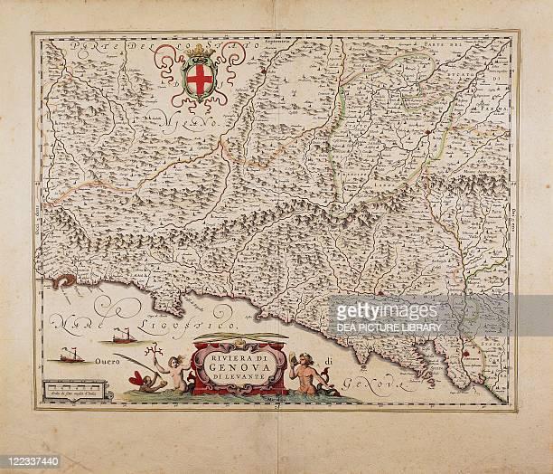 Cartography Italy 17th century Map of Eastern Liguria Region by Giovanni Antonio Magini