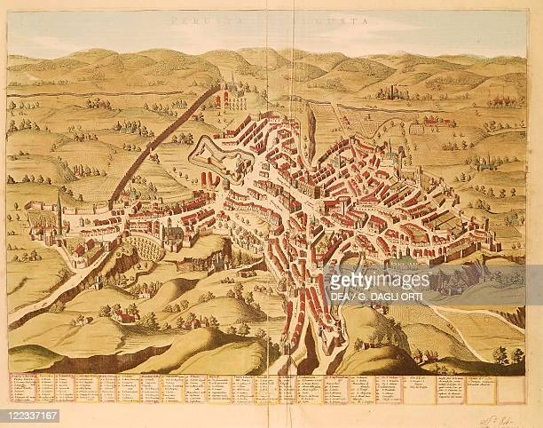 Cartography, Italy, 17th century. Map of Perugia. Colored engraving from the second half of the 16th century.