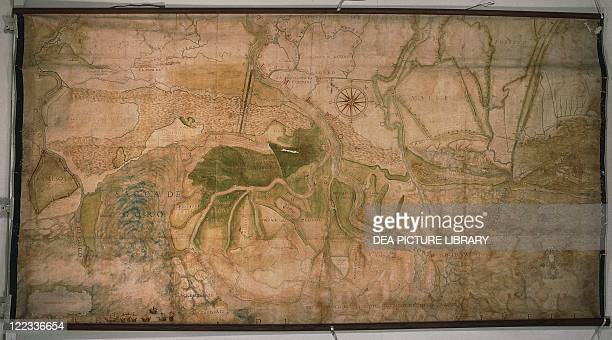Cartography Italy 17th century Map of the river Po delta with outline of the 'Porto Viro cut off'