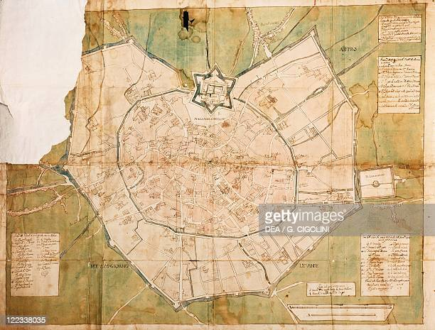 Cartography Italy 17th century Milan and its canals