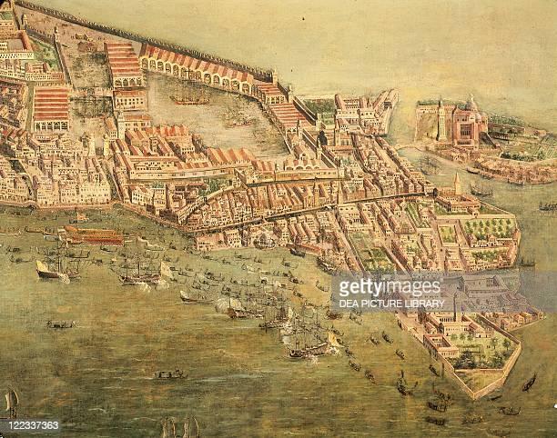 Cartography Italy 17th century View of Venice dockyard