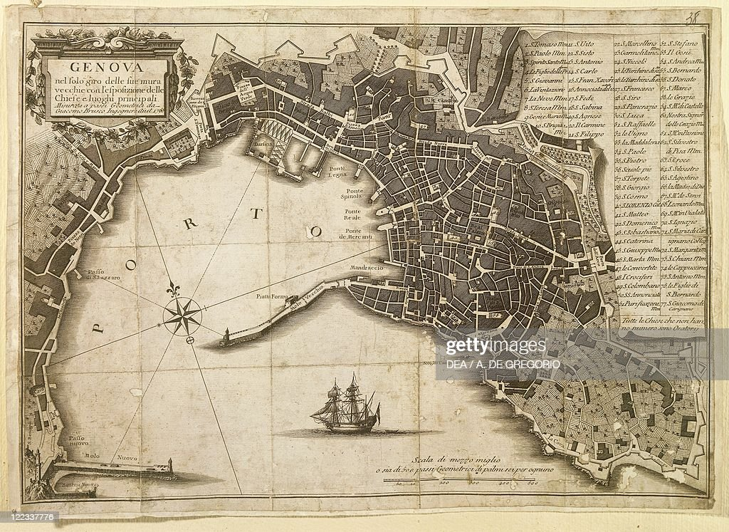 Map of Genoa in 1656 partly revised in 1766 Pictures Getty Images