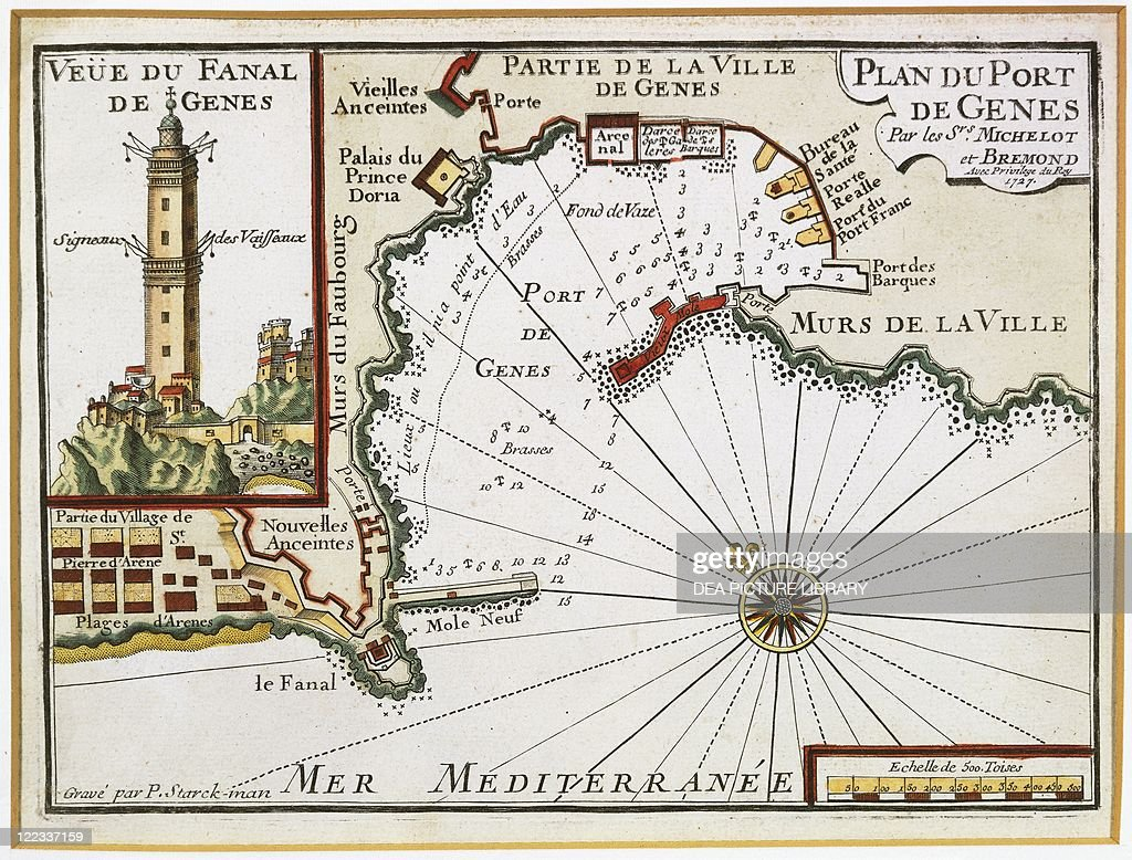 Genoa harbor Map by Henry Michelot and Laurens Bremond from the