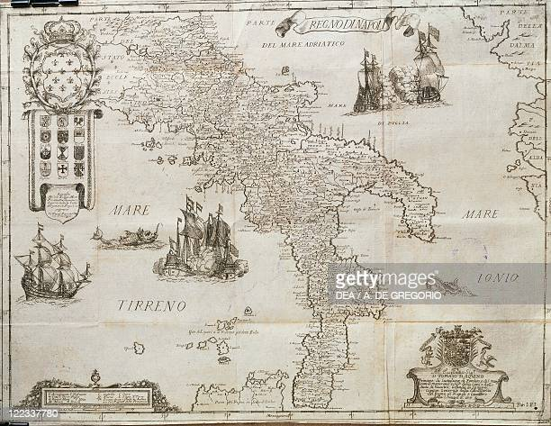Cartography Italy 18th century The Kingdom of Naples From The Kingdom of Naples in perspective by Giovan Battista Pacichelli 1702 Engraving