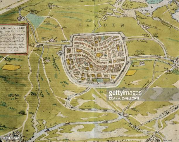 Cartography Netherlands 16th century Map of Leiden city and region From Civitates Orbis Terrarum by Georg Braun and Franz Hogenberg Cologne Engraving