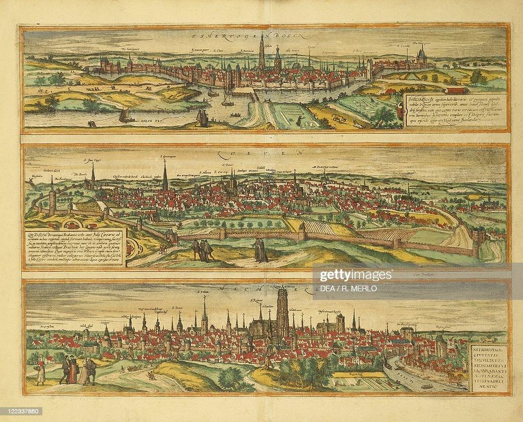 Map of Hertogenbosch Leuven and Mechelen from Civitates Orbis