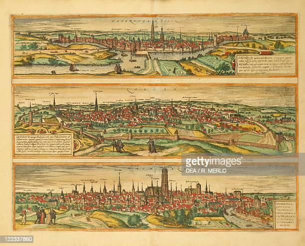 Cartography Netherlands and Belgium 16th century Map of 'sHertogenbosch Leuven and Mechelen From Civitates Orbis Terrarum by Georg Braun and Franz...