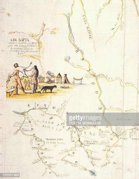 Cartography Russia 18th century Map of Kamchatka drawn during expedition of Danish explorer Vitus Bering