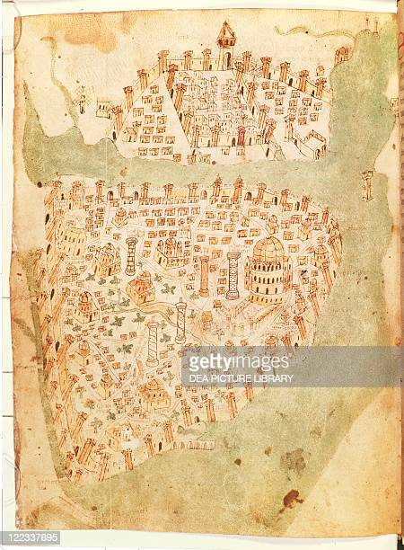 Cartography Turkey 15th century Map of Constantinople created by Christopher Buondelmonti