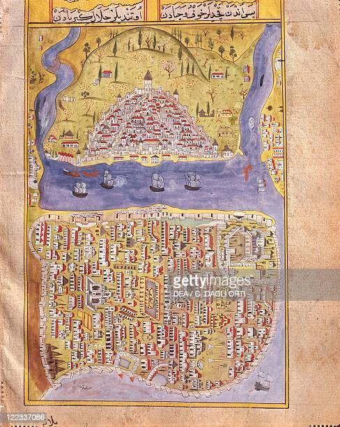 Cartography Turkey 16th century View of Istanbul and Galata from a book on Sultan Suleyman IranIraq campaign in 15341535 by Matraki Nasuh Ottoman...