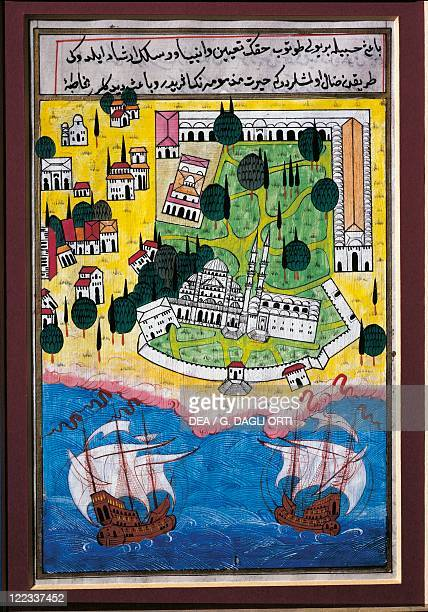 Cartography Turkey 20th century Istanbul the Seraglio Point with Topkapi Palace Hagia Sophia the Sea of Marmara with two ships at sea from a...