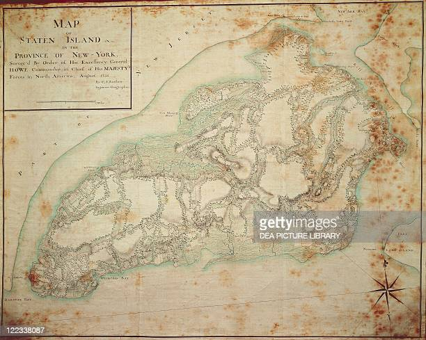 Cartography United States of America 18th century New York Staten Island American War of Independence Military map 1776