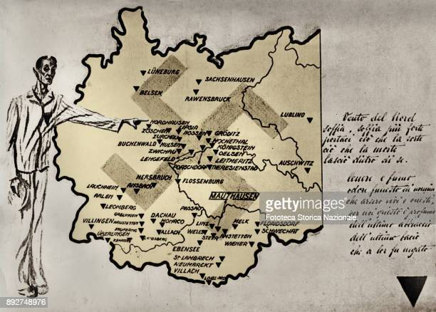 Cartography with concentration camps and Nazi death existing in the territory of the Third Reich during World War II At the center clearly...