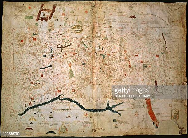 Cartography14th century Nautical charts by Angelino Dulcert1339 Two sheets of parchment glued 102 x 75 cm