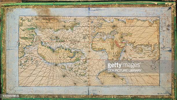 Cartography16th century Universal Marine by Francesco Rosselli 1508 ca Engraving on illustrated parchment 18 x 335 cm