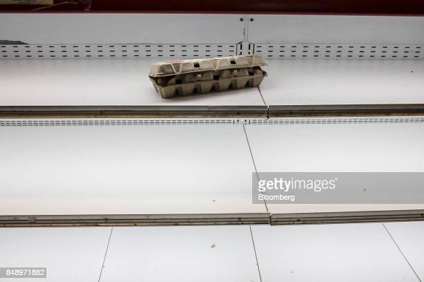 A carton of eggs sits on an empty shelf at a supermarket in the Chacao district of Caracas Venezuela on Thursday Aug 24 2017 The government...