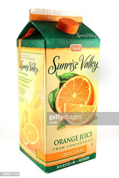 carton of orange juice from concentrate | giant sunrise valley - juice carton stock photos and pictures