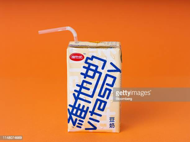 A carton of Vitasoy International Holdings Ltd soy milk is arranged for a photograph in Hong Kong China on Saturday June 1 2019 Vitasoy sells its...