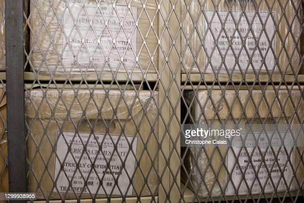 Cartons d'archives au siège des Nations Unies à New York.