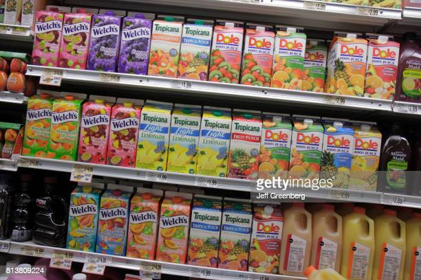 Cartons of fruit juice for sale at Publix Grocery Store