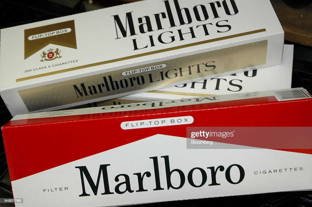 Cartons Of Marlboro Cigarettes Are Arranged On A Delicatessen