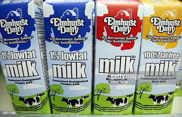Cartons of milk are seen for sale September 16 2003 in New York City Milk prices have risen over the summer and jumped up 21 percent from August to...